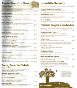 Outback Steak House Menu by Outback Steakhouse Gainesville Restaurant Menus Order
