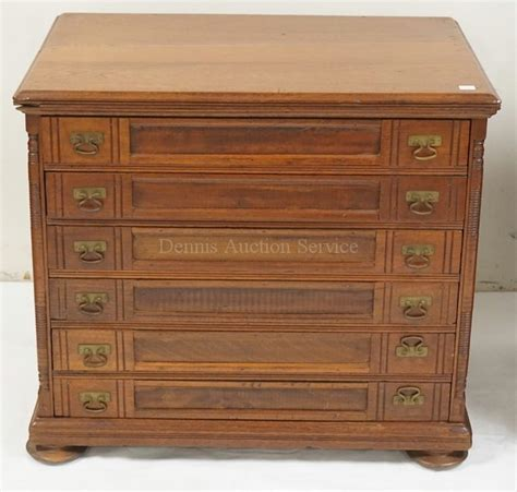 antique spool cabinet with 6 drawers 24 1 2 inches wide 21