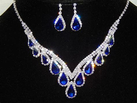 Rhinestone Necklace Earring awesome silver royal blue rhinestone necklace and