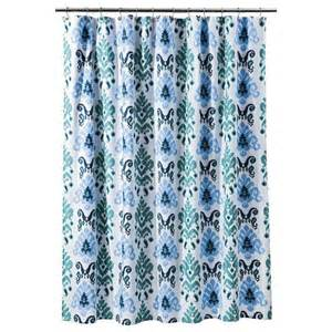 threshold ikat shower curtain gray