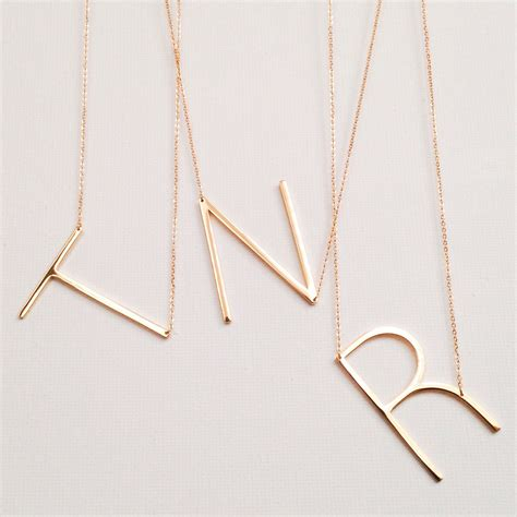 sale large initial necklace oversized letter alphabet