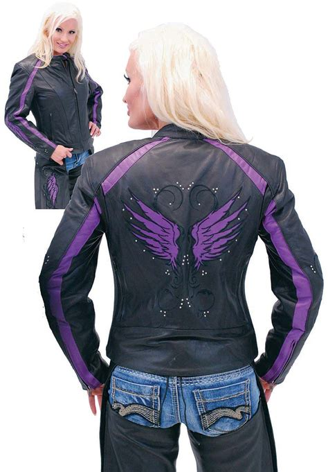 motorcycle riding vest purple wings leather motorcycle jacket for women from