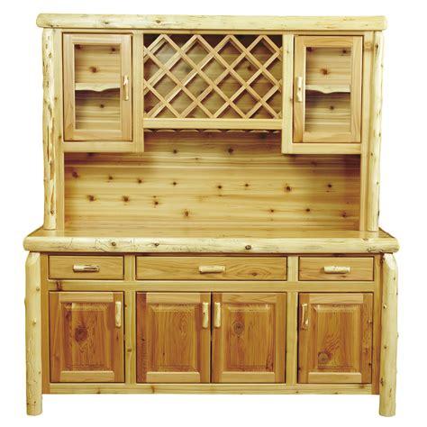 Buffet Hutch With Wine Rack cedar log buffet hutch with wine rack 75 inch