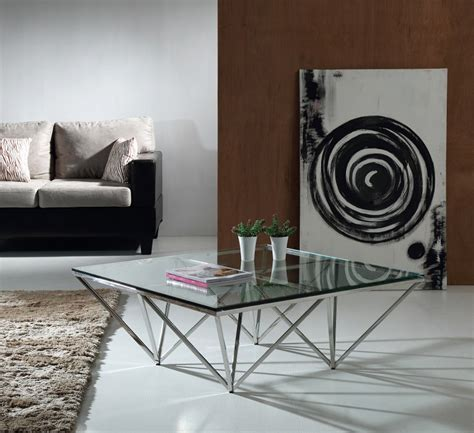 glass and stainless steel coffee table geometric tered glass and stainless steel coffee table