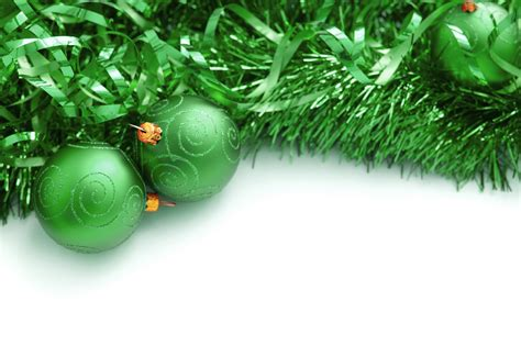 photo of green christmas tinsel and bauble border free