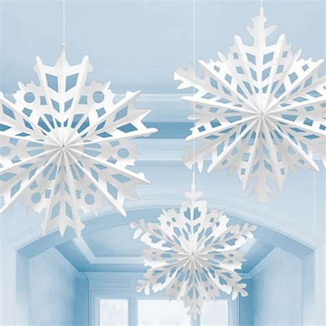 Make Paper Snowflakes For Decorations - 3 white snowflake paper fan decorations light