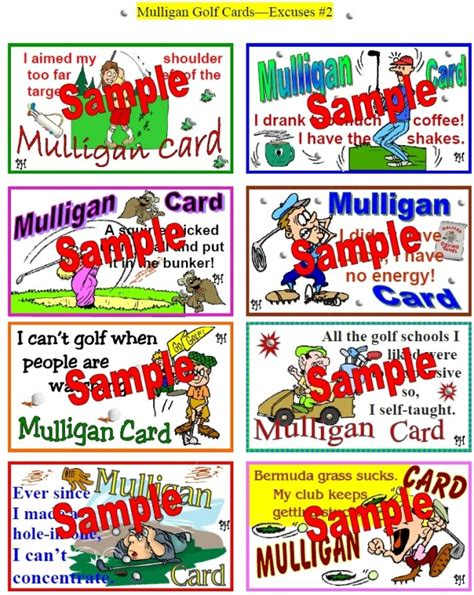 mulligan card template golf excuses sets of 8 mulligan cards mulligan golf