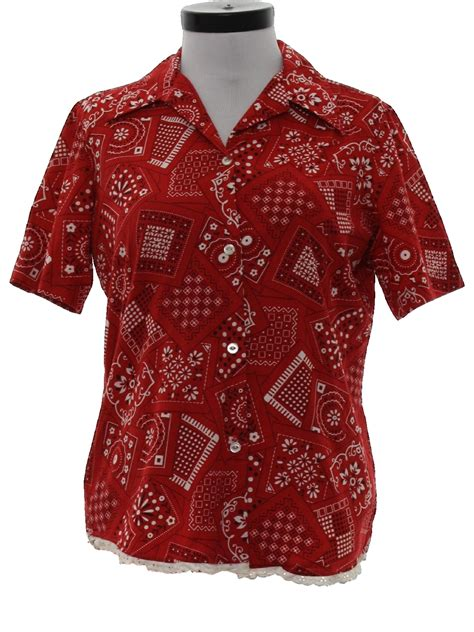bandana pattern button up shirt vintage 70s hippie shirt 70s durable press womens red