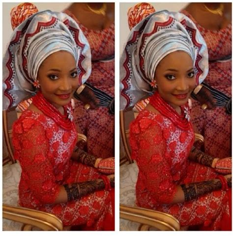 latest bride buba red lace iro and buba with red silver gele and jewelry