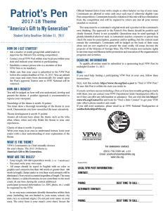 Patriots Pen Essay Contest Entry Form by Patriot S Pen 5 000 Scholarship Contest Northwoods Veterans Post