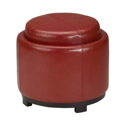 red round ottoman safavieh chelsea round tray leather ottoman in red hud8232r