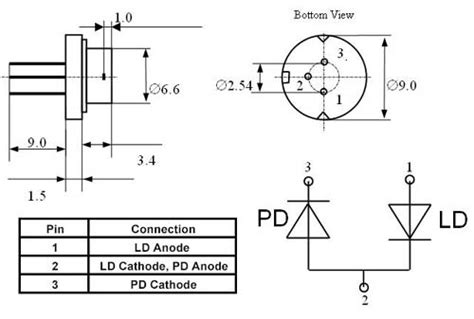 pin configuration of diode single mode laser diode at 915nm