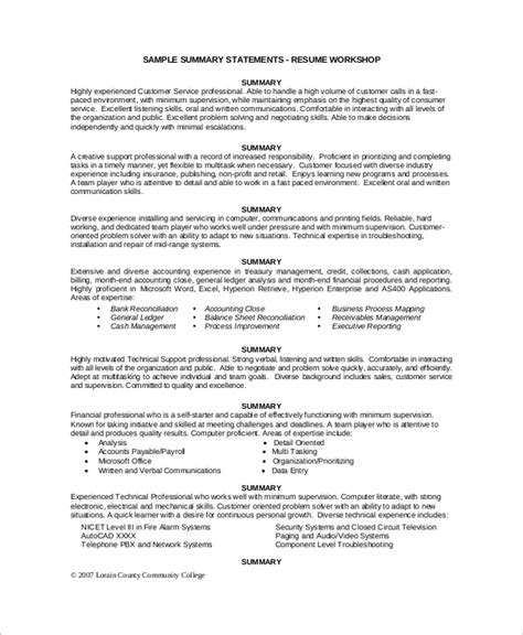 sle resume for customer support executive executive summary resume sle executive summary resume 8
