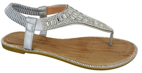 Dressy Flats For Wedding by Womens Flat Diamante Wedding Toe Post Dressy