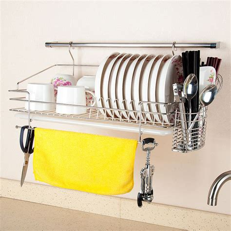Sink Drain Rack Rak Cuci Piring 2 304 stainless steel dish rack wall rack wall mounted bowl