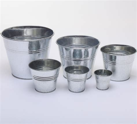 plain silver coloured galvanised metal pots planters