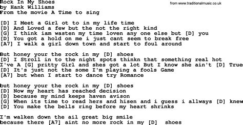 my lyrics williams hank williams song rock in my shoes lyrics and chords