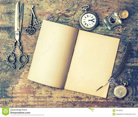 libro writing with pictures how open book and antique writing tools on wooden table feather pen stock photo image 52162500
