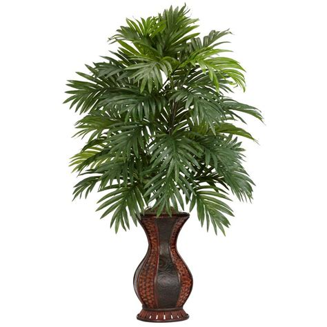silk plants nearly natural 37 in h green areca palm with urn silk