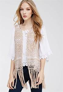 forever 21 fringed crochet vest you ve been added to the