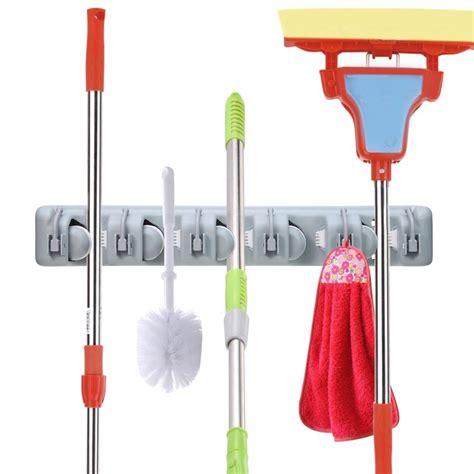 Magic Mop Hanging Holder Broom Rack Gantungan Sapu Pel Kemoceng wall mounted broom and mop holder for 10 59 addictedtosaving