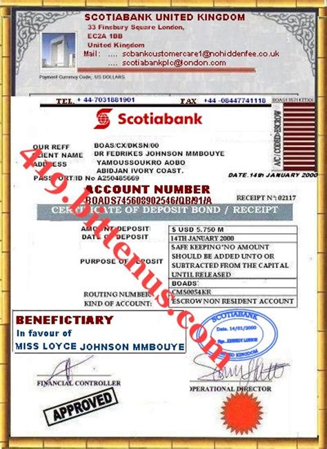 Scotiabank Letter Of Credit Certificates Of Deposit Uk