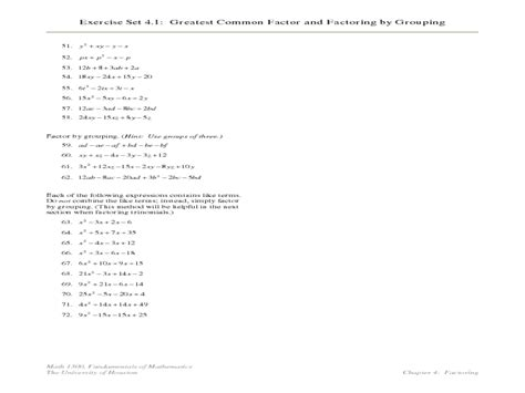 Factoring By Grouping Worksheet Answers by Math Worksheet Factoring By Grouping Math Worksheets
