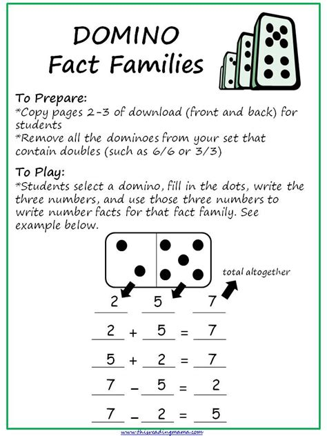 printable domino directions fact families with dominoes this reading mama