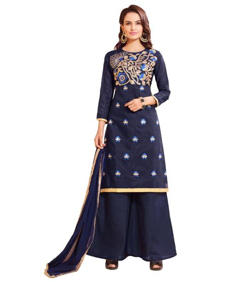 girls dess plazo dess photo manthan navy blue embroidered un stitched plazo suit