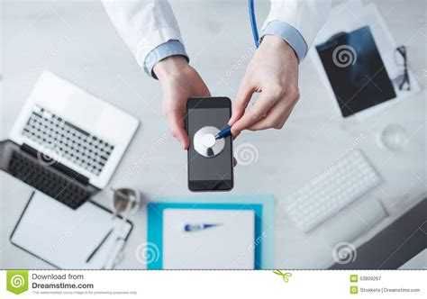 medical mobile app and technology stock photo image
