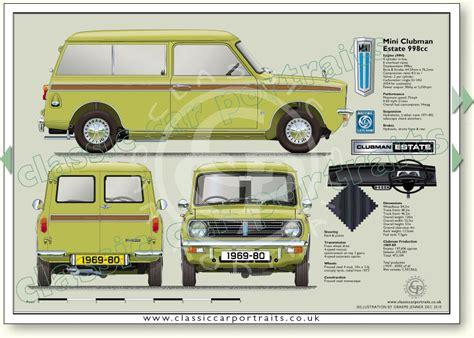 Mini Clubman Estate 1969 80 Classic Car Portrait Print