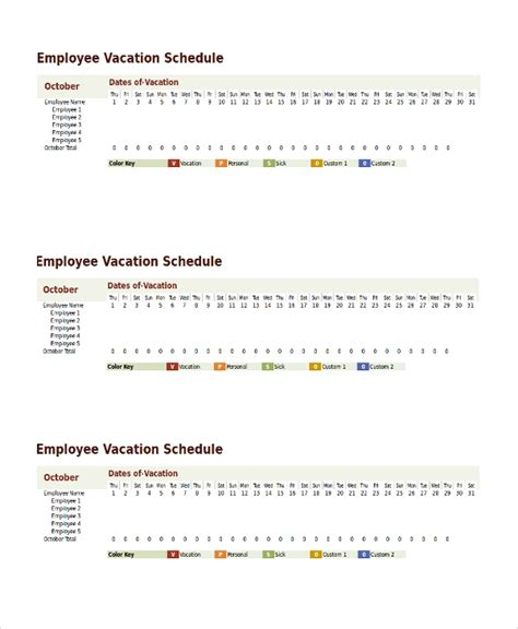 9 Vacation Schedule Templates Sle Templates Employee Vacation Schedule Template