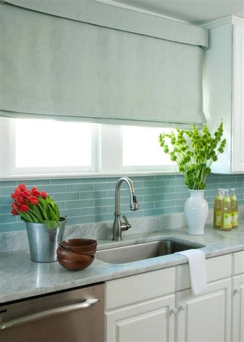 blue kitchen tiles blue glass tile backsplash cottage kitchen liz