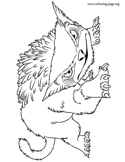 the croods the bear owl coloring page