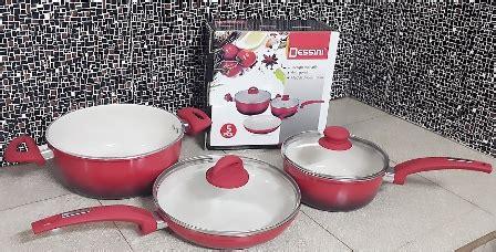 Panci Keramik Fincook panci keramik set dessini frypan stock pot desini ceramic cookware vicenza alat masak anti lengket