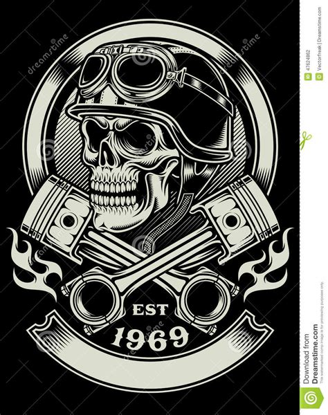 crossed piston tattoo vintage biker skull with crossed piston emblem stock