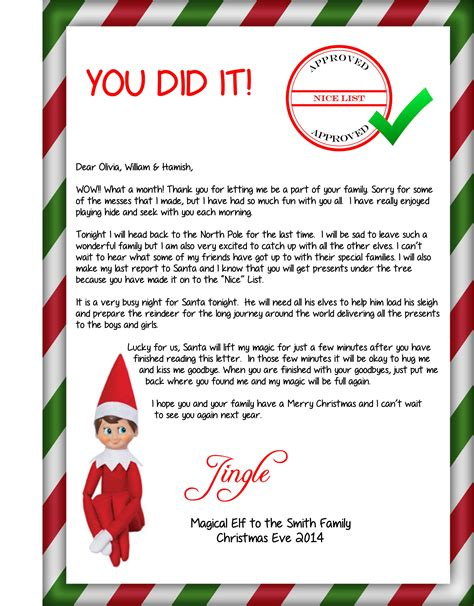 printable elf goodbye this is the goodbye letter from the elf when he is heading