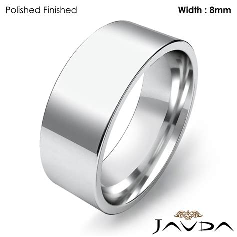 8mm men wedding band comfort fit pipe cut ring 14k white