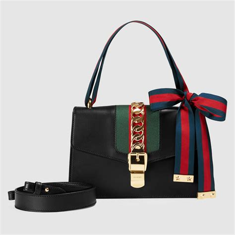 Guci Leather gucci sylvie leather shoulder bag in black lyst