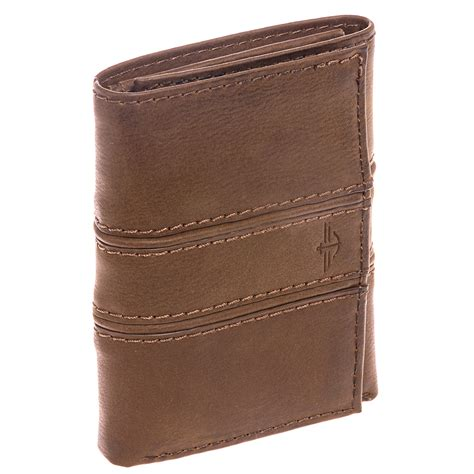 Handcrafted Wallets - dockers s brown trifold coated leather embossed logo