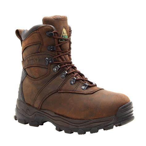 mens insulated boots rocky sport utility mens brown leather insulated w p