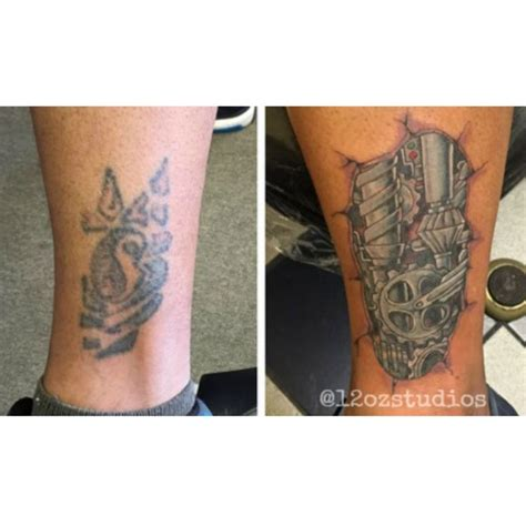 tattoo cover up calf awesome cover up featuring bio mechanical gears male calf