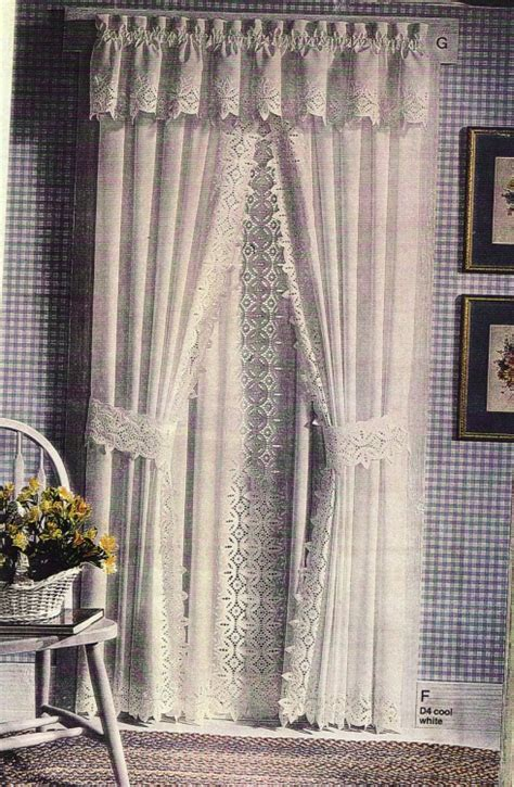Lace Trim Curtains Filigree Lace Trim 6 Quot Width Curtain Panels And Matching Valance The Lace And Linens Co