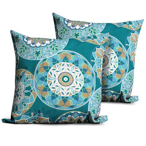 eaton teal decorative throw pillow set of 2 ebay teal sundial outdoor throw pillows square set of 2