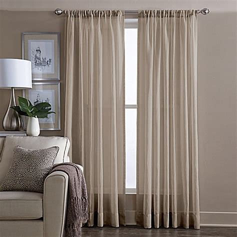 95 inch sheer curtain panels buy wamsutta 174 sheer 95 inch window curtain panel in linen