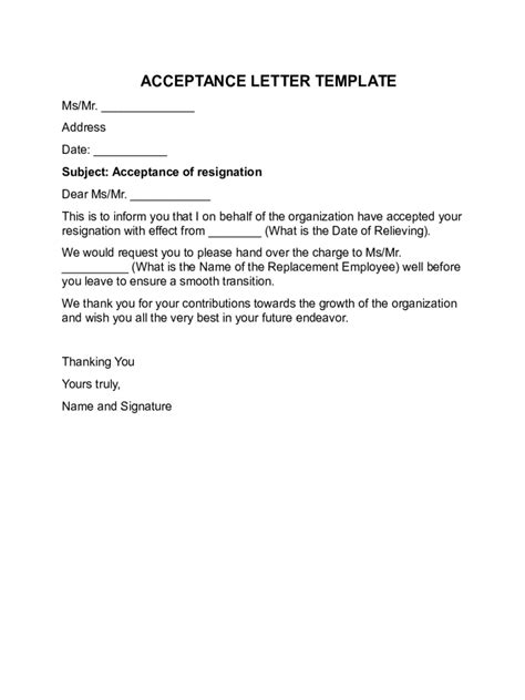 Non Acceptance Letter Exle Acceptance Letter Templates 8 Free Templates In Pdf Word Excel