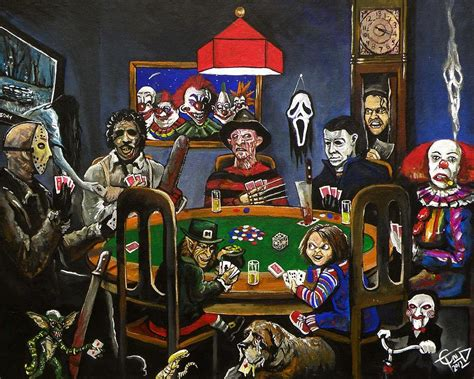 film horror game horror card game painting by tom carlton