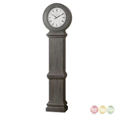 chouteau rustic antiqued dusty gray floor clock 06086
