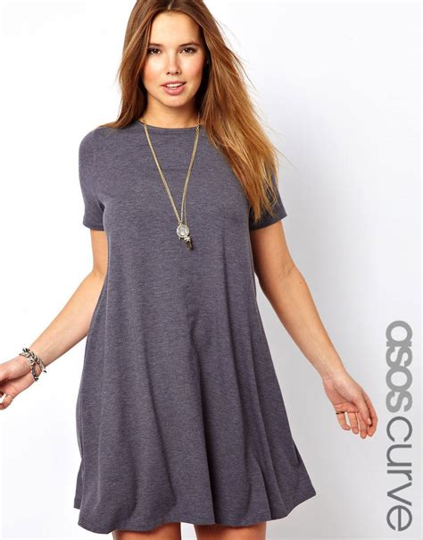 swing short asos curve swing dress with short sleeves in gray lyst