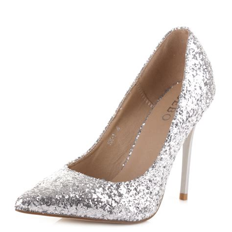 silver sparkly high heels for prom is heel